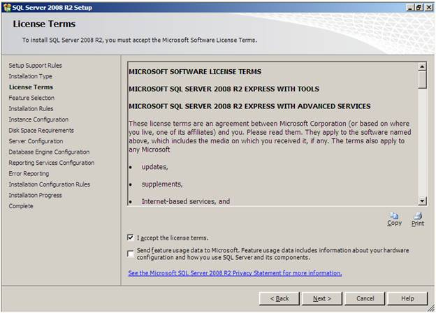 Sql server performance overview of sql server 2008 r2 express edition in the feature selection screen select the components of sql server 2008 r2 express with advanced services features to be installed sciox Gallery